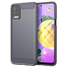 Coque Silicone Housse Etui Gel Line pour LG K52 Gris