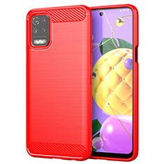 Coque Silicone Housse Etui Gel Line pour LG K52 Rouge