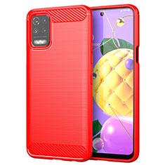 Coque Silicone Housse Etui Gel Line pour LG K62 Rouge