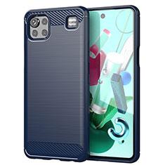 Coque Silicone Housse Etui Gel Line pour LG K92 5G Bleu