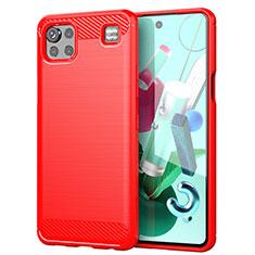 Coque Silicone Housse Etui Gel Line pour LG K92 5G Rouge