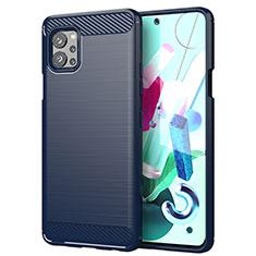 Coque Silicone Housse Etui Gel Line pour LG Q92 5G Bleu
