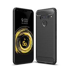Coque Silicone Housse Etui Gel Line pour LG V50 ThinQ 5G Noir