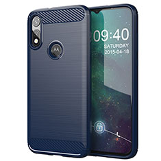 Coque Silicone Housse Etui Gel Line pour Motorola Moto E (2020) Bleu