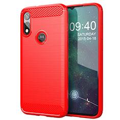 Coque Silicone Housse Etui Gel Line pour Motorola Moto E (2020) Rouge