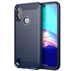 Coque Silicone Housse Etui Gel Line pour Motorola Moto E6s (2020) Bleu
