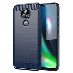Coque Silicone Housse Etui Gel Line pour Motorola Moto E7 Plus Bleu
