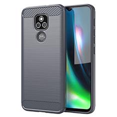 Coque Silicone Housse Etui Gel Line pour Motorola Moto E7 Plus Gris