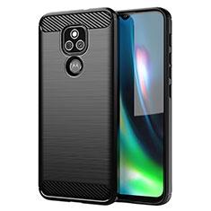 Coque Silicone Housse Etui Gel Line pour Motorola Moto E7 Plus Noir
