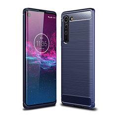 Coque Silicone Housse Etui Gel Line pour Motorola Moto Edge Bleu