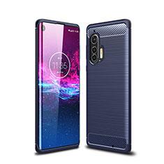 Coque Silicone Housse Etui Gel Line pour Motorola Moto Edge Plus Bleu