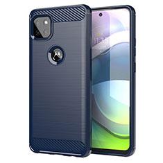 Coque Silicone Housse Etui Gel Line pour Motorola Moto G 5G Bleu