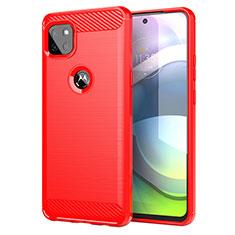 Coque Silicone Housse Etui Gel Line pour Motorola Moto G 5G Rouge