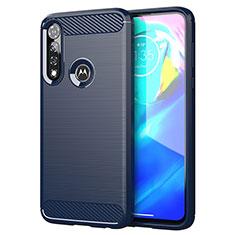 Coque Silicone Housse Etui Gel Line pour Motorola Moto G Power Bleu