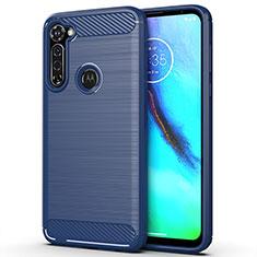 Coque Silicone Housse Etui Gel Line pour Motorola Moto G Stylus Bleu