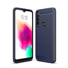 Coque Silicone Housse Etui Gel Line pour Motorola Moto G8 Play Bleu
