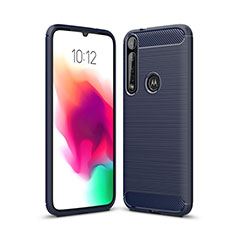 Coque Silicone Housse Etui Gel Line pour Motorola Moto G8 Plus Bleu