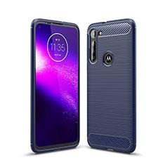 Coque Silicone Housse Etui Gel Line pour Motorola Moto G8 Power Bleu