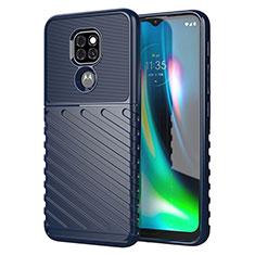 Coque Silicone Housse Etui Gel Line pour Motorola Moto G9 Play Bleu