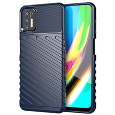 Coque Silicone Housse Etui Gel Line pour Motorola Moto G9 Plus Bleu