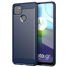 Coque Silicone Housse Etui Gel Line pour Motorola Moto G9 Power Bleu