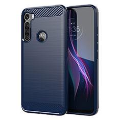 Coque Silicone Housse Etui Gel Line pour Motorola Moto One Fusion Plus Bleu