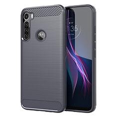 Coque Silicone Housse Etui Gel Line pour Motorola Moto One Fusion Plus Gris