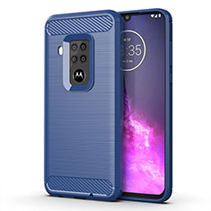 Coque Silicone Housse Etui Gel Line pour Motorola Moto One Zoom Bleu