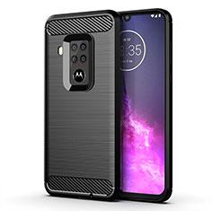 Coque Silicone Housse Etui Gel Line pour Motorola Moto One Zoom Noir