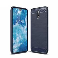 Coque Silicone Housse Etui Gel Line pour Nokia 2.3 Bleu