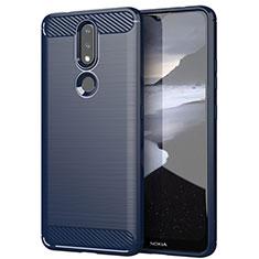 Coque Silicone Housse Etui Gel Line pour Nokia 2.4 Bleu