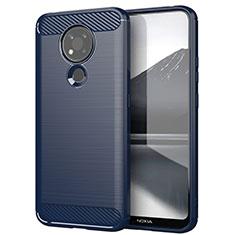 Coque Silicone Housse Etui Gel Line pour Nokia 3.4 Bleu
