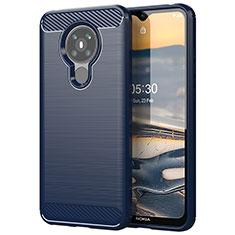 Coque Silicone Housse Etui Gel Line pour Nokia 5.3 Bleu