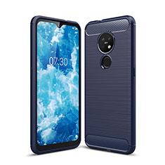 Coque Silicone Housse Etui Gel Line pour Nokia 7.2 Bleu