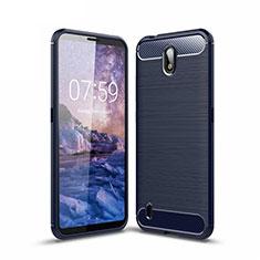 Coque Silicone Housse Etui Gel Line pour Nokia C1 Bleu