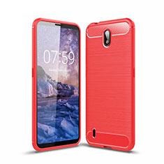 Coque Silicone Housse Etui Gel Line pour Nokia C1 Rouge