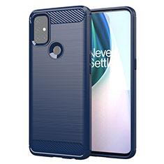 Coque Silicone Housse Etui Gel Line pour OnePlus Nord N10 5G Bleu