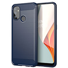 Coque Silicone Housse Etui Gel Line pour OnePlus Nord N100 Bleu