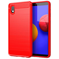 Coque Silicone Housse Etui Gel Line pour Samsung Galaxy A01 Core Rouge