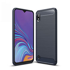 Coque Silicone Housse Etui Gel Line pour Samsung Galaxy A10 Bleu