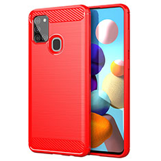 Coque Silicone Housse Etui Gel Line pour Samsung Galaxy A21s Rouge