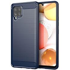 Coque Silicone Housse Etui Gel Line pour Samsung Galaxy A42 5G Bleu