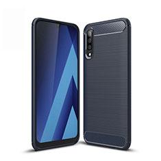 Coque Silicone Housse Etui Gel Line pour Samsung Galaxy A50 Bleu