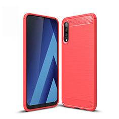 Coque Silicone Housse Etui Gel Line pour Samsung Galaxy A50 Rouge