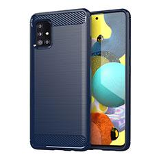 Coque Silicone Housse Etui Gel Line pour Samsung Galaxy A51 4G Bleu
