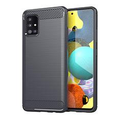 Coque Silicone Housse Etui Gel Line pour Samsung Galaxy A51 4G Gris