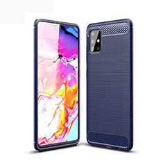 Coque Silicone Housse Etui Gel Line pour Samsung Galaxy A51 5G Bleu