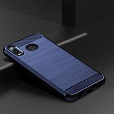 Coque Silicone Housse Etui Gel Line pour Samsung Galaxy A6s Bleu
