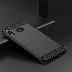 Coque Silicone Housse Etui Gel Line pour Samsung Galaxy A6s Noir