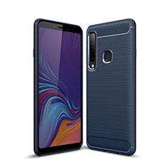 Coque Silicone Housse Etui Gel Line pour Samsung Galaxy A9s Bleu